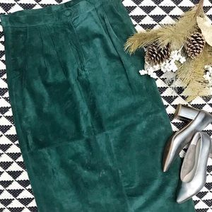 VINTAGE • green suede maxi skirt